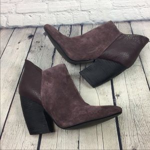 Crown Vintage Women Suede Chunky Ankle Boots